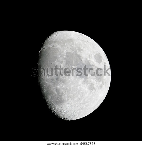 Close-up of the waxing gibbous moon (84% of full) on 23 May 2010.