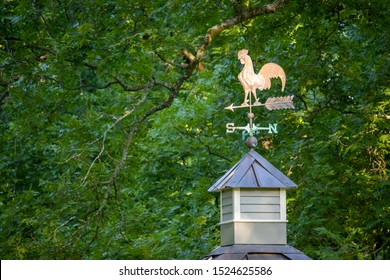 Close-up of a weathered copper rooster weathervane mounted on a wooden cupola with a weathered copper roof, against a background of pecan tree foliage.