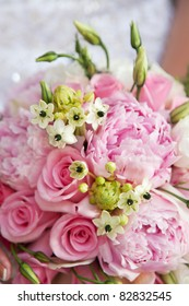 close-up of wedding bouquet of pink flowers