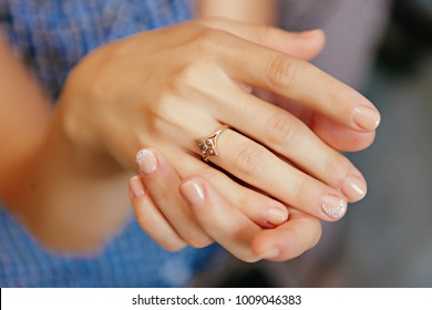 Closeup wedding rings on the hands