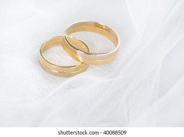 Closeup of wedding rings on a veil