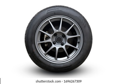Closeup Wheel super car isolated on White background view. Move speed. Clipping path. - Shutterstock ID 1696267309