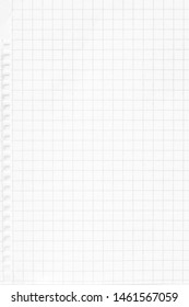 Closeup white checkered notebook sheet of paper texture background. Vertical picture.