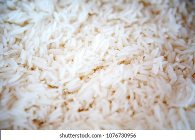 closeup of white cooked rice on plate