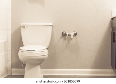 Close-up of white flush toilet bowl  and empty roll on toilet paper holder. Empty toilet paper roll in restroom. Modern bathroom interior in America. Out of toilet paper dilemma concept. Vintage tone.