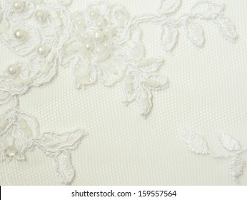 Closeup of white wedding lace for background