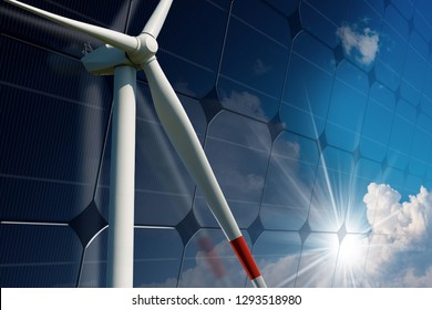 Close-up of a white wind turbine and a solar panel with blue sky, clouds and sun rays - Renewable energy concept