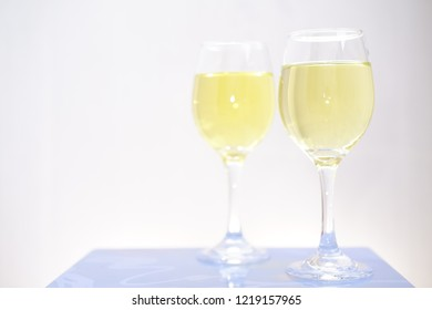 closeup white wine on isolated background