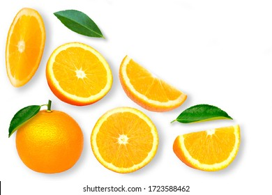 Closeup whole and half slice of ripe fresh organic orange fruit with green leaf isolated on white background. Top view. Flat lay.
