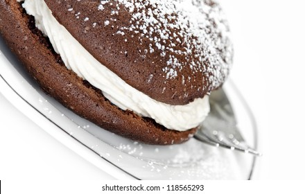 Closeup of whoopie pie, chocolate cake