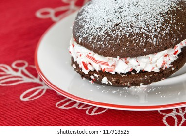 Closeup of whoopie pie. Traditional dessert from New England.