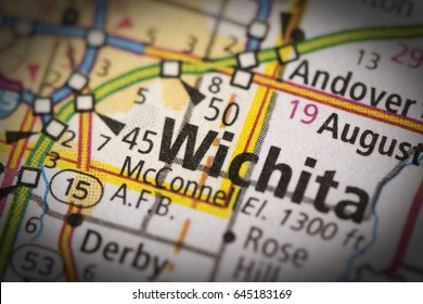 Closeup of Wichita, Kansas with vignette effect on a road map of the United States.