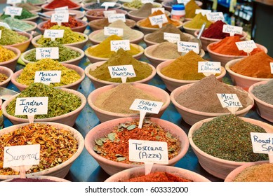 Closeup with a wide variety of spices at the market of Jerusalem in Israel.