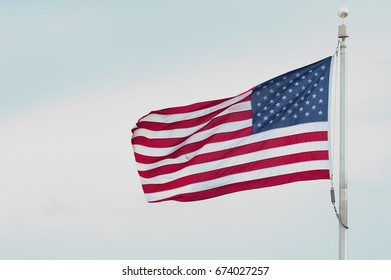 Closeup of wind blown United States Flag