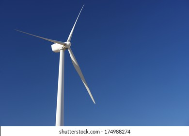 closeup of a windmill for renewable electric energy production, Pozuelo de Aragon, Zaragoza, Aragon, Spain.