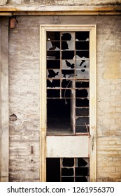 Close-up of a window in an abandoned factory. Teruel Province, Aragon, Spain