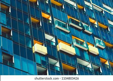 Closeup of windows in high rise building in downtown Melbourne, Australia