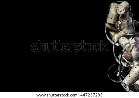 1c87cbf6e5a56f Closeup Wine Glasses Corks On Black Stock Photo (Edit Now) 447237283 ...