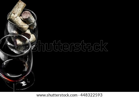 82a0a29931a097 Closeup Wine Glasses Corks On Black Stock Photo (Edit Now) 448322593 ...