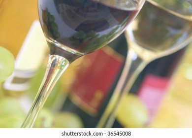 Close-up of wineglass with red wine