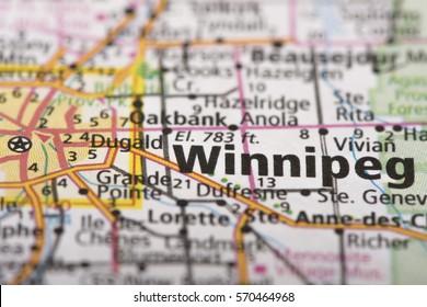 Closeup of Winnipeg, Manitoba on a road map of Canada.