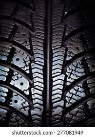 Closeup of a winter snow tire tread