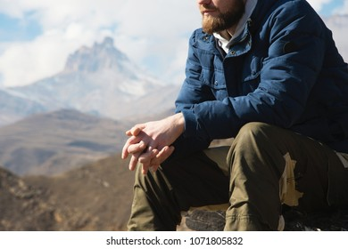 Epic face images stock photos vectors shutterstock close up without a face sitting hipster on a stone high in the mountains against voltagebd Images
