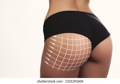 closeup woman beautiful buttocks with arrow grid
