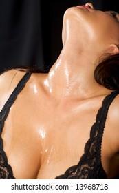 A closeup of a woman brilliant neck.