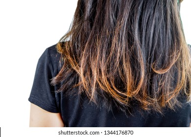 closeup woman damaged hair split ends isolated on white background
