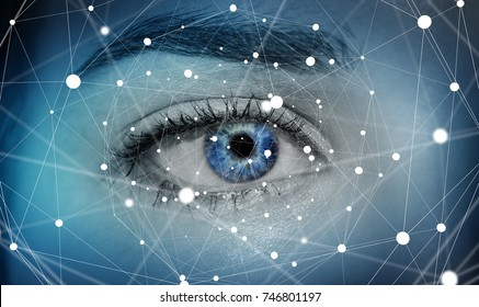Close-up of woman digital eye with dot network flying through 3D rendering