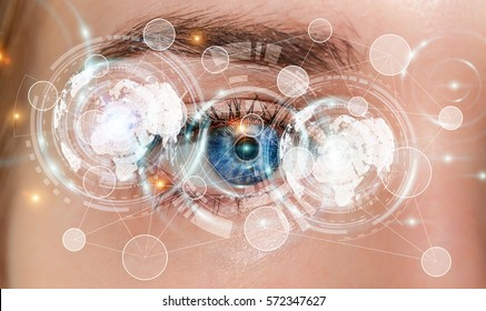 Close-up of woman digital eye during scanning process 3D rendering