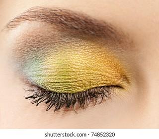 closeup woman eye with makeup