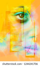 closeup of woman face eye and lips composite photo in yellow and orange colors