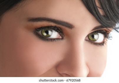 Closeup of a woman with green eyes