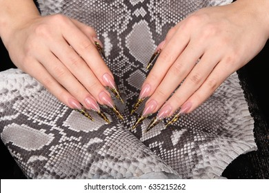 Closeup of woman hand with nail design. Trendy crackle nail polish. Manicure and nail tattoo trend. Closeup of woman hand on fabric snakeskin. Fashion Stylish Fashion Colorful Nails.