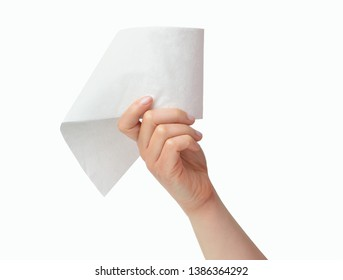 Close-up of a woman hand using toilet paper isolated on a white background