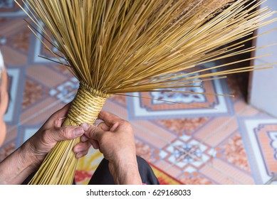 Closeup Woman Hands Making Rice Straw Stock Photo (Edit Now