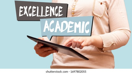 closeup woman holding tablet, speech bubbles with excellence and academic concept