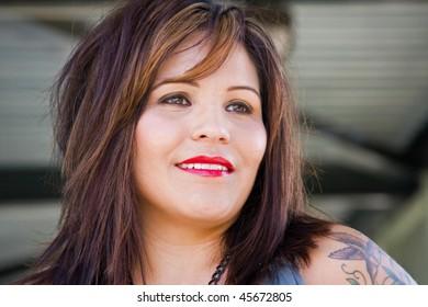 Closeup of a woman model.