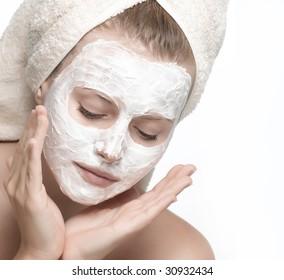 closeup woman portrait on white background