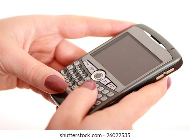 Closeup of woman with smartphone
