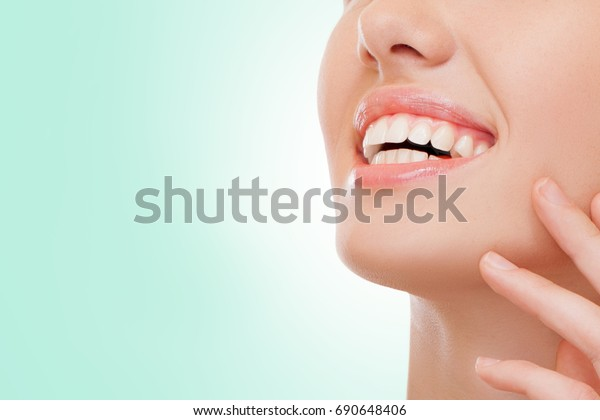 Closeup Woman Smiling While Being Dentist Stock Photo (Edit