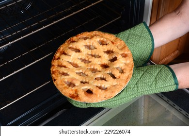 Closeup of a woman taking a fresh baked pumpkin pie from the oven.A traditional American dessert for Thanksgiving Day Holiday feasts. Horizontal with the persons hands in oven mitts only.