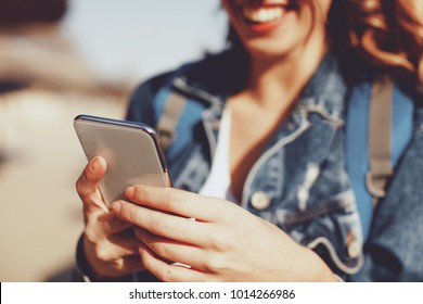Close-up of woman using smartphone