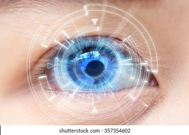Close-up of woman's blue eye. High Technologies in the futuristic. : contact lens