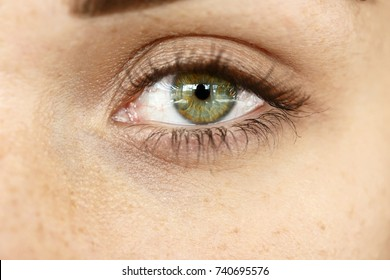 Close-up of woman's deep green eye