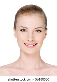 Close-up woman's face with clean fresh skin and beautiful smile - isolated