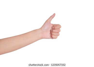 Close-up of woman's hand showing thumbs up sign, isolated on white background