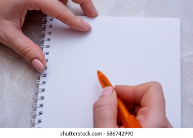 Close-up of woman's hand writing on the paper